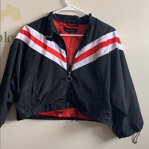New look size M polyester jacket red black & white